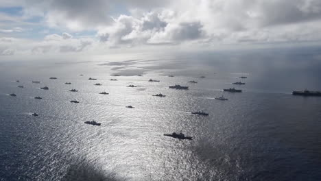 Aerial-Of-Massive-Flotilla-Of-Navy-Ships-On-The-Move-Across-The-Pacific-6