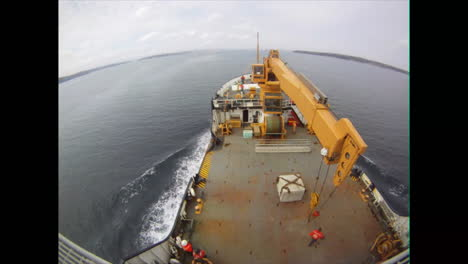 Time-Lapse-Footage-Of-A-Coast-Guard-Cutter-Mooring-In-Halifax-Canada