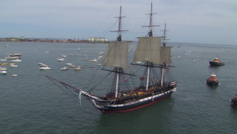 Aerial-Over-The-Tall-Ship-Uss-Constitution-In-Boston-Harbor