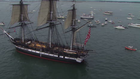 Aerial-Over-The-Tall-Ship-Uss-Constitution-In-Boston-Harbor-1