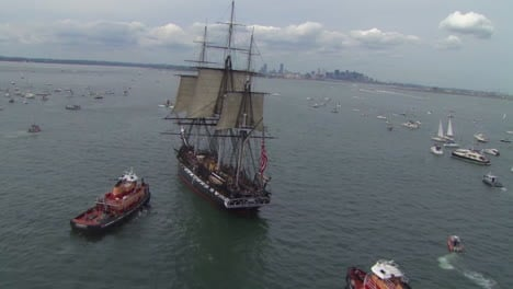 Aerial-Over-The-Tall-Ship-Uss-Constitution-In-Boston-Harbor-2