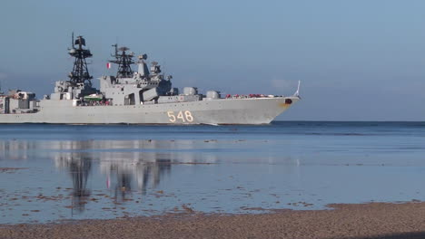 A-Destroyer-From-The-Russian-Navy-Sails-Near-A-Coast
