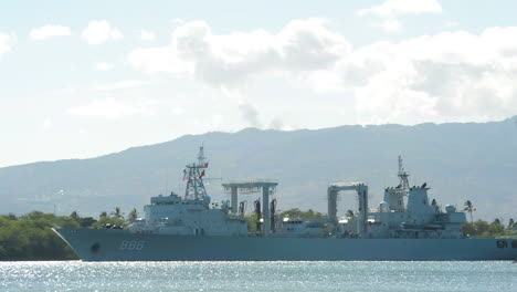 A-Chinese-Navy-Ship-Sails-Into-Port