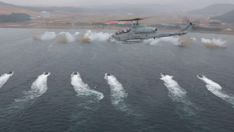 Helicopter-Airships-Support-And-Massive-Amphibious-Simulated-Invasion-By-The-Us-Marines-Off-The-Coast-Of-Korea-1
