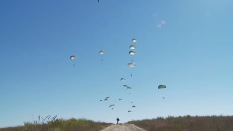 Ground-Angle-View-Of-Paratroopers-Parachuting-To-Earth-From-A-C17-1
