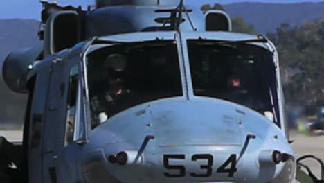 Uh1Y-Huey-Helicopter-Prepares-For-Take-Off-And-Hovering