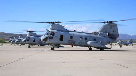 A-Squadron-Of-Ch46-Sea-Knights-Taxi-On-A-Runway-1