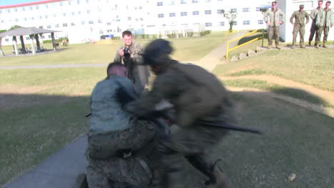 Mock-Protestors-Fight-Against-Protected-Troops-And-Are-Subdued