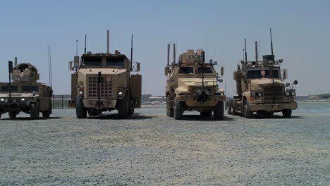 Military-Vehicles-Are-Displayed-In-The-Desert-Of-Iraq
