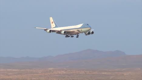 Air-Force-One-Lands-On-A-Desert-Runway