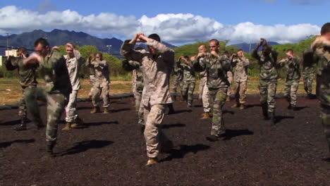 Infantes-De-Marina-En-Entrenamiento-Básico-Aprenden-Artes-Marciales