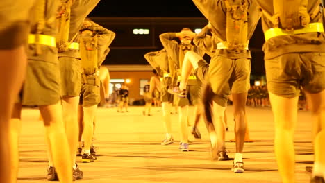 Marines-In-Basic-Training-Go-Through-Various-Workout-Drills-At-Night