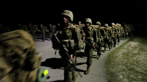 Marines-In-Training-Go-On-A-Nighttime-March-1