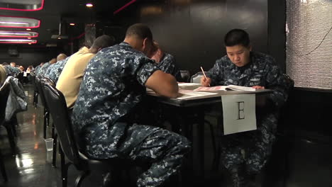 Military-Second-Class-Petty-Officers-Take-A-Test-To-Become-First-Class-Petty-Officers