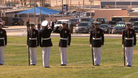 The-United-State-Marine-Corp-Marching-Band-And-Color-Guard-Practice-On-A-Playing-Field-1