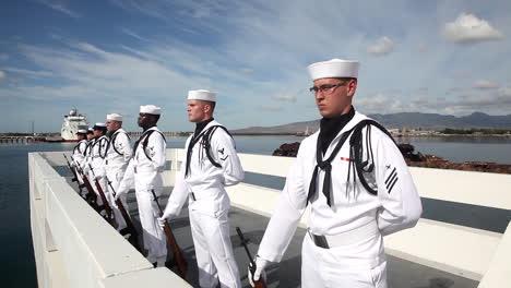 The-United-States-Navy-Honor-Guard-Performs-At-Pearl-Harbor-Hawaii