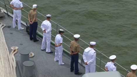 Marines-And-Sailors-Man-The-Rails-As-They-Enter-Baltimore-Harbor