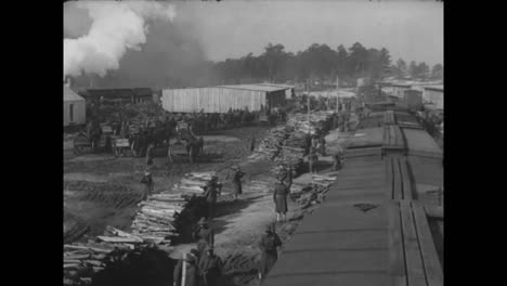 A-Lumber-Camp-In-America-Circa-1918-Includes-Great-Shots-Of-Workers-Fed-Outdoors