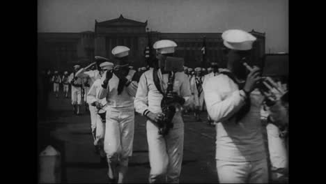 A-Navy-Marching-Band-Of-Sailors-Walks-In-Parade-In-Front-Of-Public-Buildings-In-Philadelphia