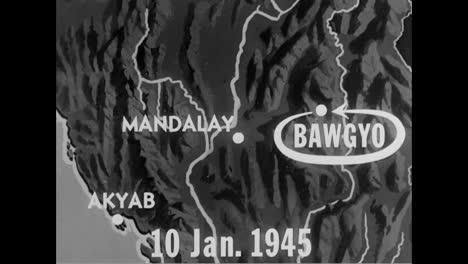 US-Flugzeuge-Bombardieren-1945-Japanische-Stützpunkte-In-Bawgyo-Burma