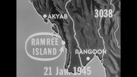 Britische-Flugzeuge-Bombardieren-1945-Japanische-Stützpunkte-Auf-Ramree-Island-Burma
