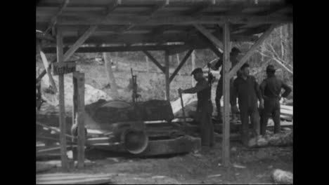 1914-Logging-Camp-Activities-In-America-Including-A-Sawmill-And-A-Railway-Trestle-Is-Built