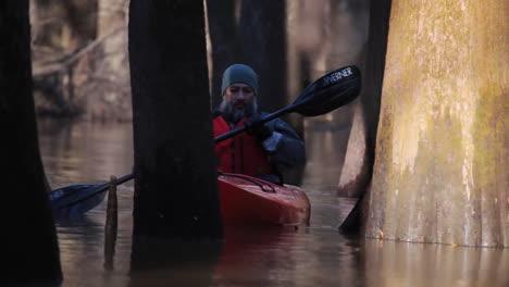 Various-Shots-Of-Kayakers-Paddling-Through-The-Congaree-National-Park-Wilderness-In-South-Carolina-2
