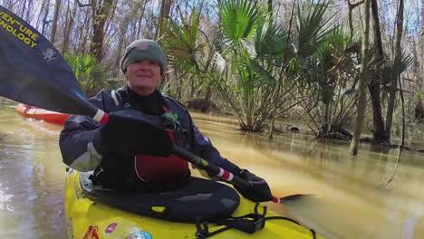 Various-Shots-Of-Kayakers-Paddling-Through-The-Congaree-National-Park-Wilderness-In-South-Carolina-3