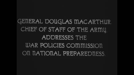 General-Douglas-Macarthur-Addresses-The-War-Policies-Commission-On-National-Preparedness-In-The-1930S