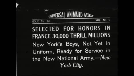 Young-Men-Are-Drafted-To-Serve-In-World-War-One-In-1918-A-Parade-Of-Firemen-And-Policemen-Through-The-Streets-Of-New-York-City
