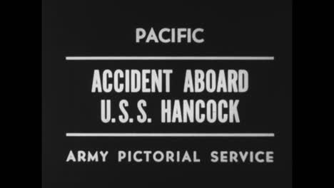 A-Fire-Breaks-Out-On-The-Uss-Hancock-When-A-Plane-Carrying-Bombs-Crashes-On-The-Deck-During-World-War-Two