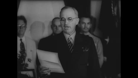 President-Harry-Struman-Announces-Japans-Surrender-In-World-War-Two
