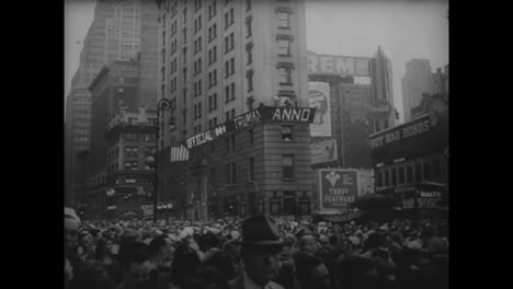 People-Celebrate-In-Times-Square-In-New-York-City-Following-Japans-Surrender-In-World-War-Two