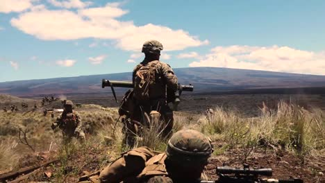 Us-Marines-Conduct-A-Platoon-Supported-Attack-With-A-Rocket-Launcher-During-Exercise-With-Echo-Company-2Nd-Battalion-3Rd-Marine-Regiment-Bougainville-Ii-P_Hakuloa-Training-Area-Hawaii-May-11-2019