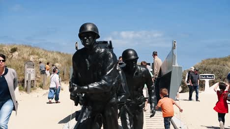 Broll-Of-Monuments-And-Statues-On-Normandy-Beach-For-The-75Th-Anniversary-Of-Dday-2019