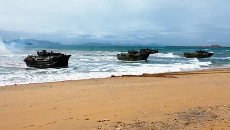 Drone-Broll-Of-Forces-From-The-United-States-Australia-United-Kingdom-And-Japan-Commence-An-Amphibious-Beach-Assault-At-Kings-Beach-In-Bowen-Queensland-July-22-2019