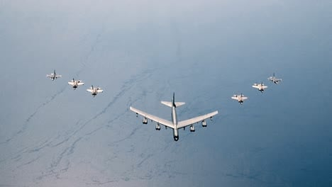 Us-And-Italian-Air-Forces-Aircraft-Consisting-Of-F35-Lightning-Iis-F16-Fighting-Falcons-And-A-B52-Stratofortress-Fly-In-Formation-Over-The-Adriatic-Sea-During-Astral-Knight-19-June-4-2019