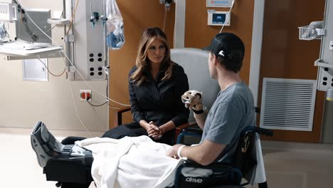First-Lady-Melania-Trump-Presents-The-Purple-Heart-To-Wounded-Soldiers-At-A-Hospital