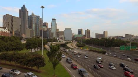 Wide-angle-view-of-freeways-and-Atlanta-Georgia-skyline-distant