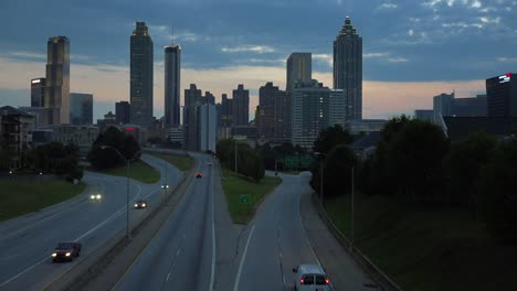 Night-falls-behind-the-skyline-of-Atlanta-Georgia