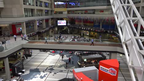 Tilt-up-of-the-interior-of-CNN-cable-network-news-headquarters-in-Atlanta-Georgia
