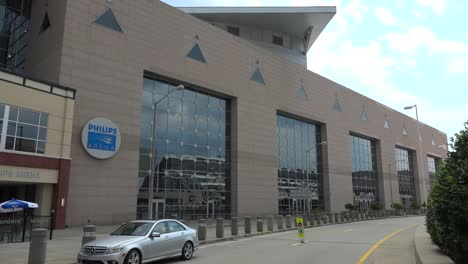 Establishing-shot-of-the-Philips-arena-in-Atlanta-Georgia-home-of-the-Atlanta-Hawks