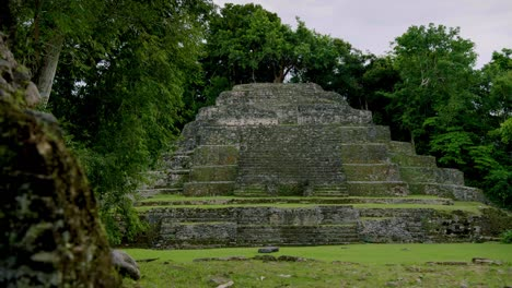 The-Lamanai-Mayan-ruins-of-Belize-are-seen-from-a-short-distance