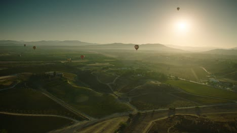 Hot-air-balloons-fly-over-a-vineyard-in-Temecula-California