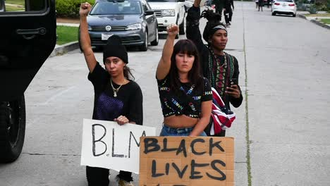 Protesters-Fall-To-Their-Knees-During-A-Black-Lives-Matter-Blm-March-In-Los-Angeles-Following-The-George-Floyd-Murder