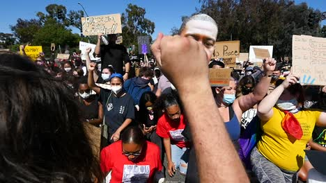 Extreme-Slo-Mo-Protesters-Chanting-And-Holding-Signs-During-A-Black-Lives-Matter-Blm-Parade-In-Ventura-California-3