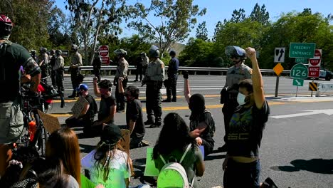 Extreme-Slo-Mo-Protesters-Chanting-And-Standing-Off-With-Police-And-National-Guard-During-A-Black-Lives-Matter-Blm-Parade-In-Ventura-California-1