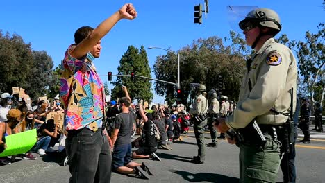 Extreme-Slo-Mo-Protesters-Chanting-And-Standing-Off-With-Police-And-National-Guard-During-A-Black-Lives-Matter-Blm-Parade-In-Ventura-California-4