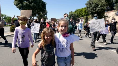 Small-Children-Walk-In-A-Blm-Black-Lives-Matter-Protest-March-In-Ventura-California