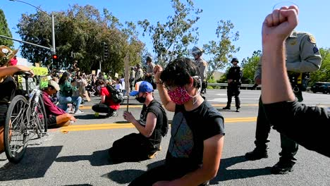 Extreme-Slo-Mo-Protesters-Chanting-And-Standing-Off-With-Police-And-National-Guard-During-A-Black-Lives-Matter-Blm-Parade-In-Ventura-California-6